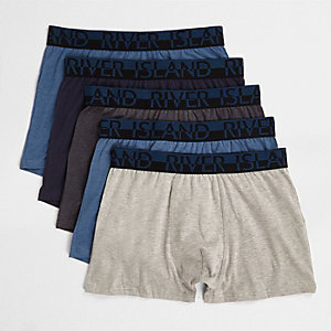 Lot de boxers longs bleu chiné