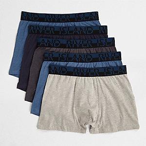 Lot de boxers longs bleu chiné
