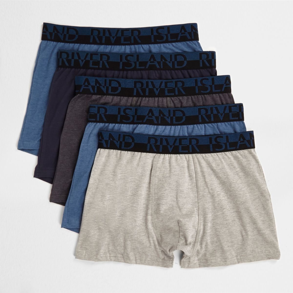 Multipack blauwe gemêleerde strakke boxers
