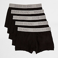 Black contrast waistband trunks multipack