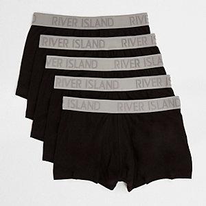 Multipack zwarte strakke boxers met contrasterende tailleband