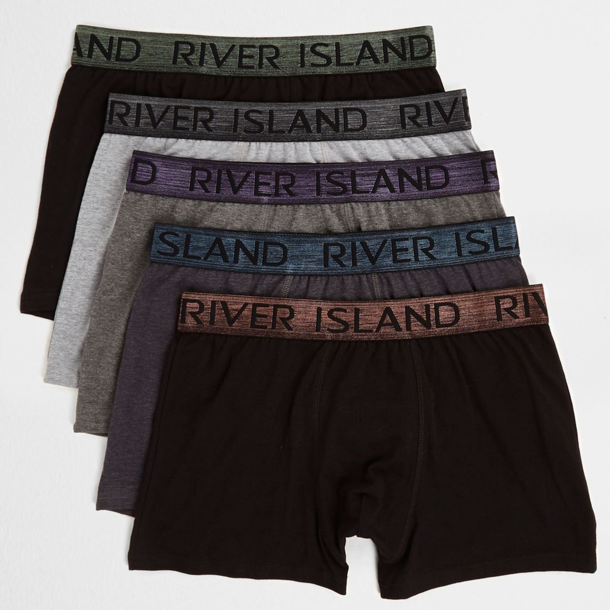 Black metallic waistband trunks multipack