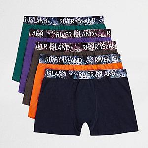 Lot de boxers longs bleu marine à taille imprimé fleurs