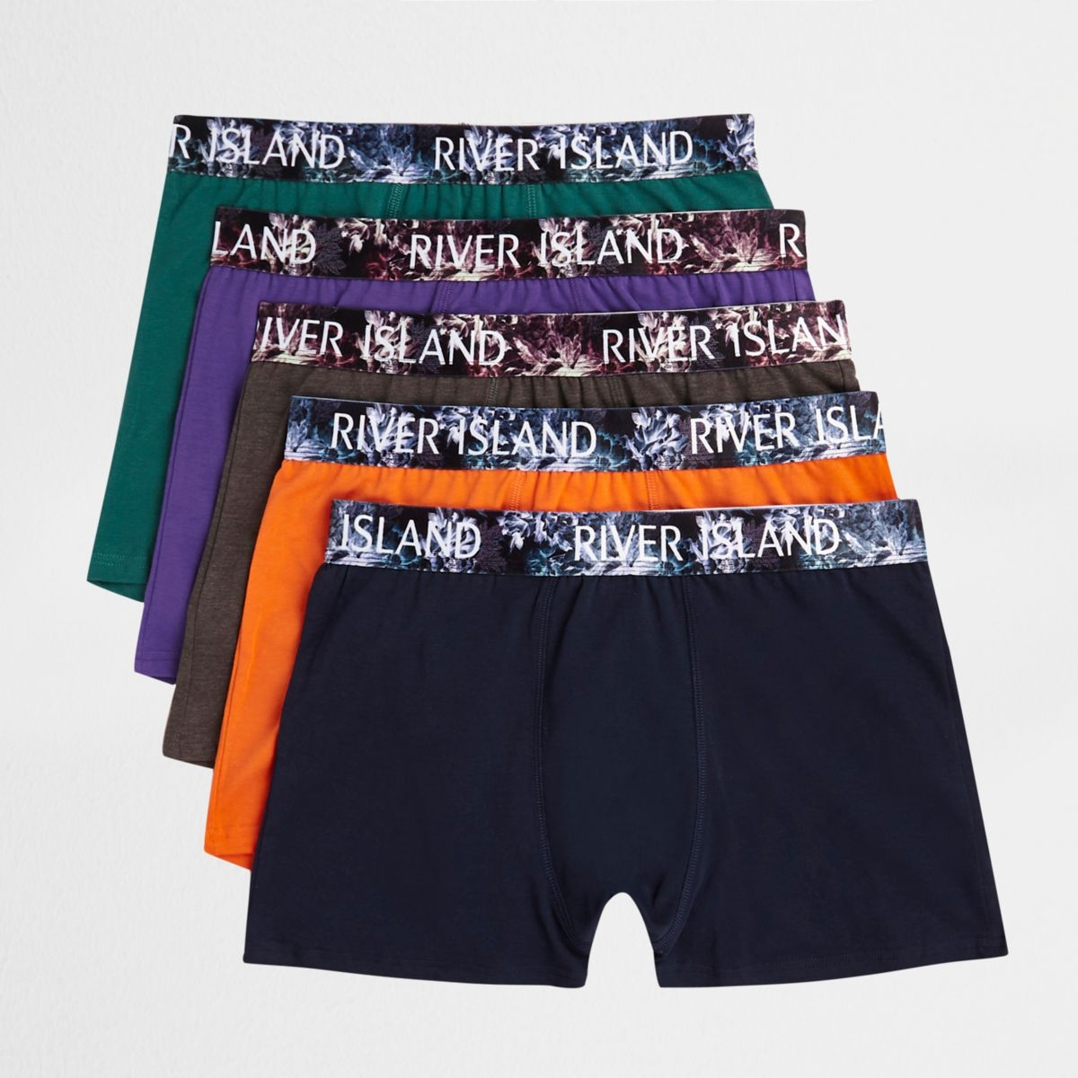 Navy floral print waistband trunks multipack