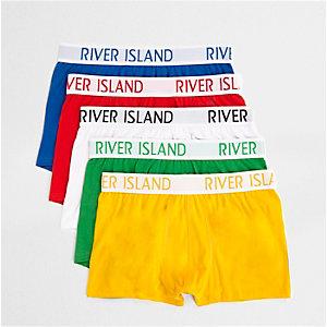Lot de boxers taille basse multicolores rouges