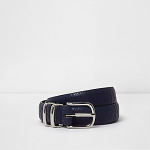 Navy croc embossed buckle belt