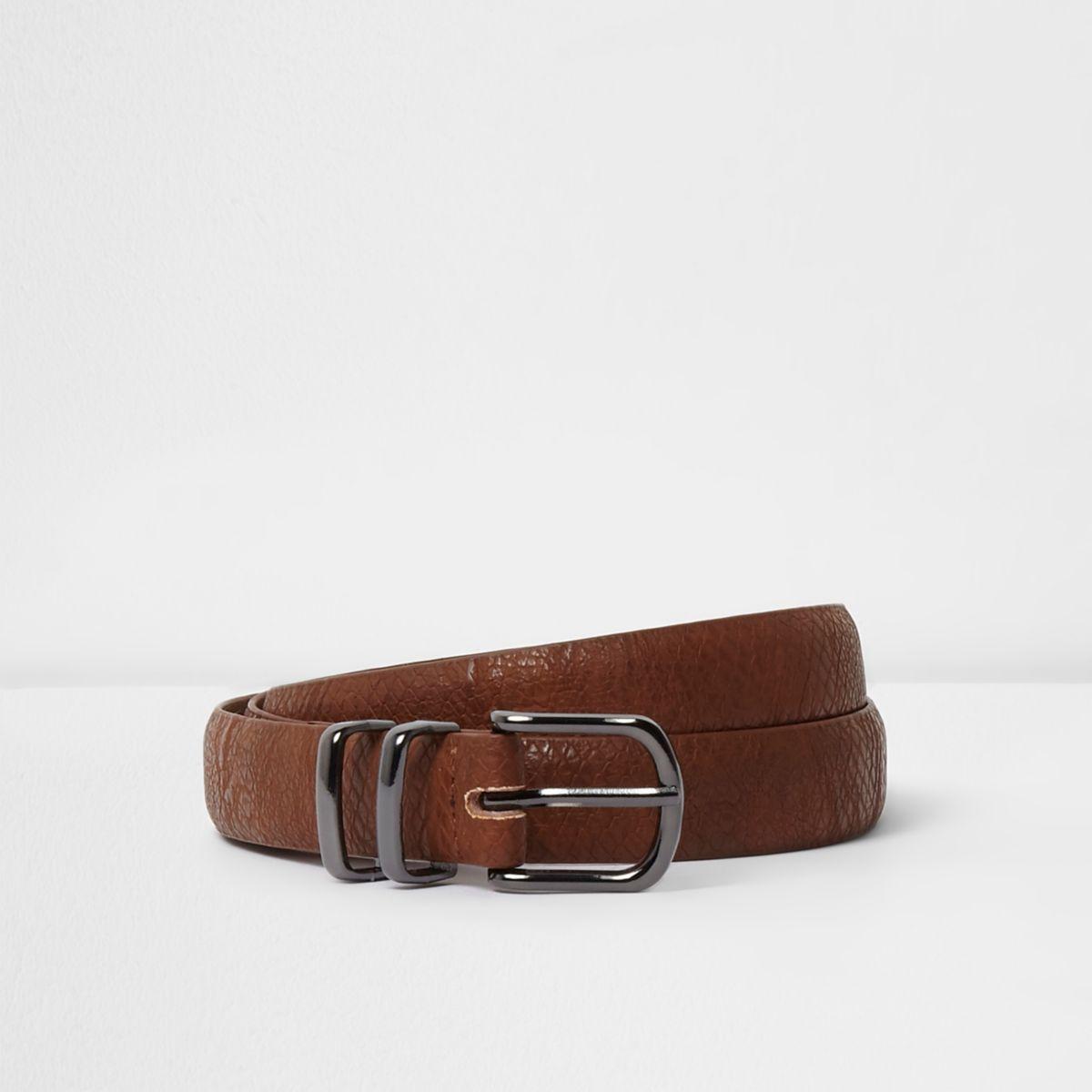 Tan snake embossed belt