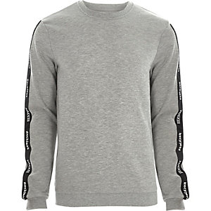 Grey marl Only & Sons printed sweatshirt