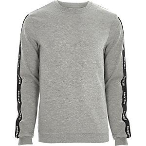 Only & Sons – Grau meliertes Sweatshirt mit Print