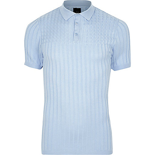 Light blue muscle fit cable knit polo shirt
