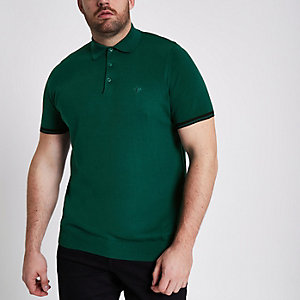 Big and Tall green knitted polo shirt