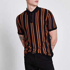 Black stripe slim fit knitted polo shirt