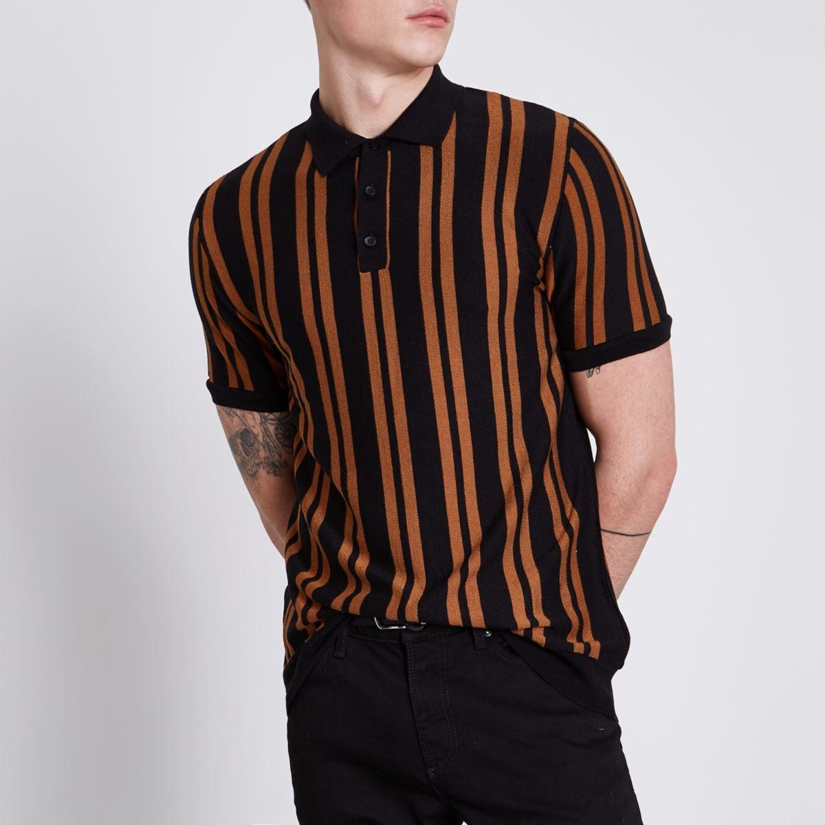 Black stripe slim fit knitted polo shirt