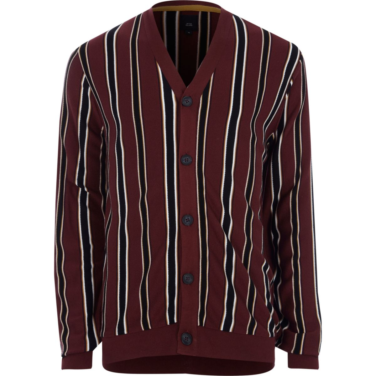 Burgundy stripe knit cardigan