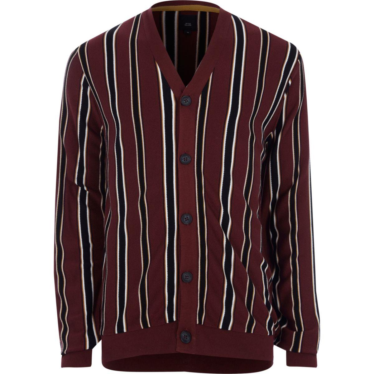 Burgundy stripe knit cardigan