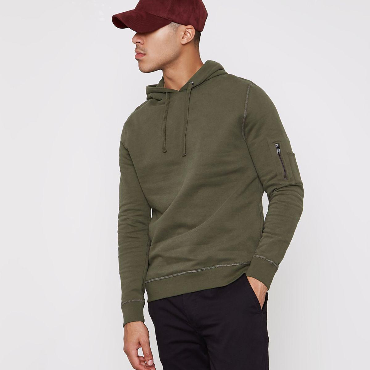 Khaki green zip pocket sleeve hoodie