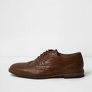 Tan brown leather brogues