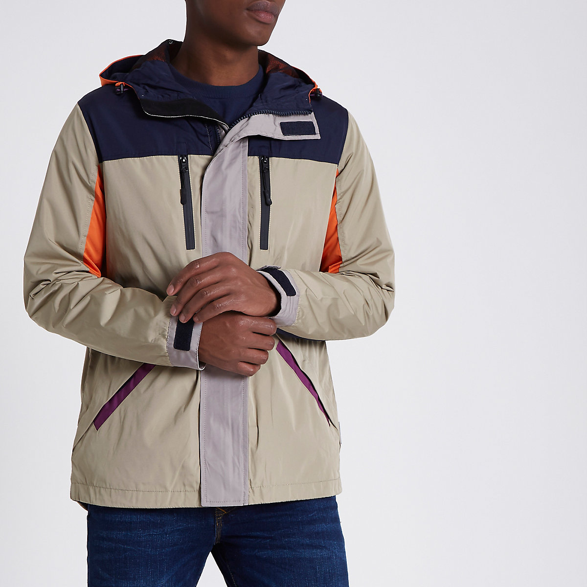 Bellfield stone color block hooded jacket