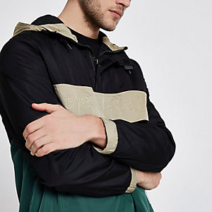 Black Bellfield block pullover hooded jacket