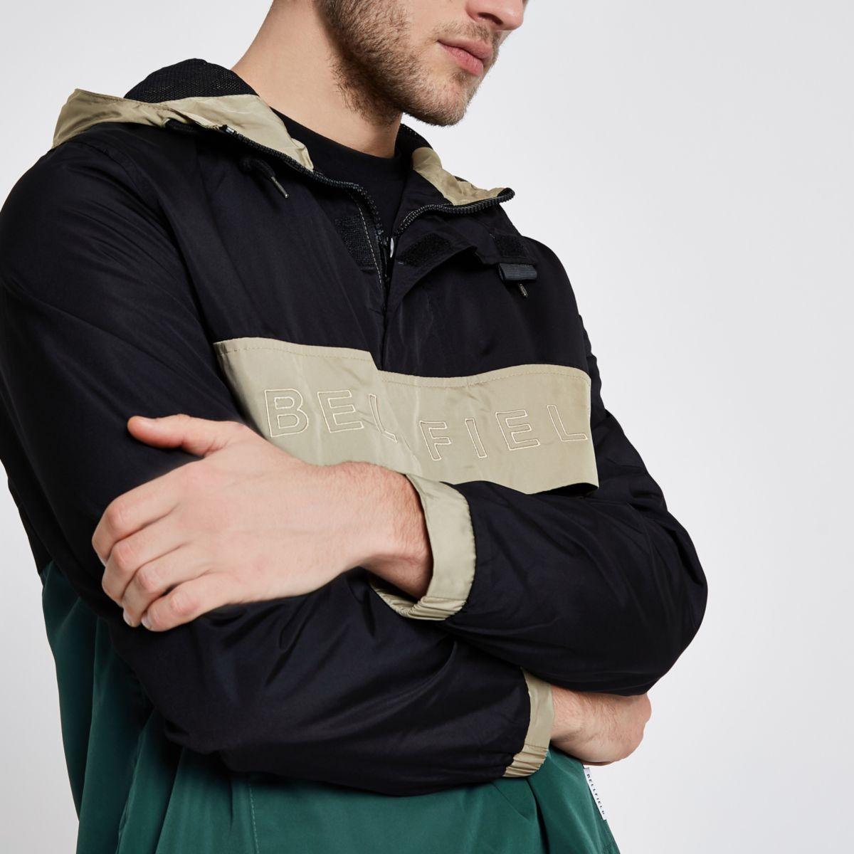 Black Bellfield block pullover hooded jacket