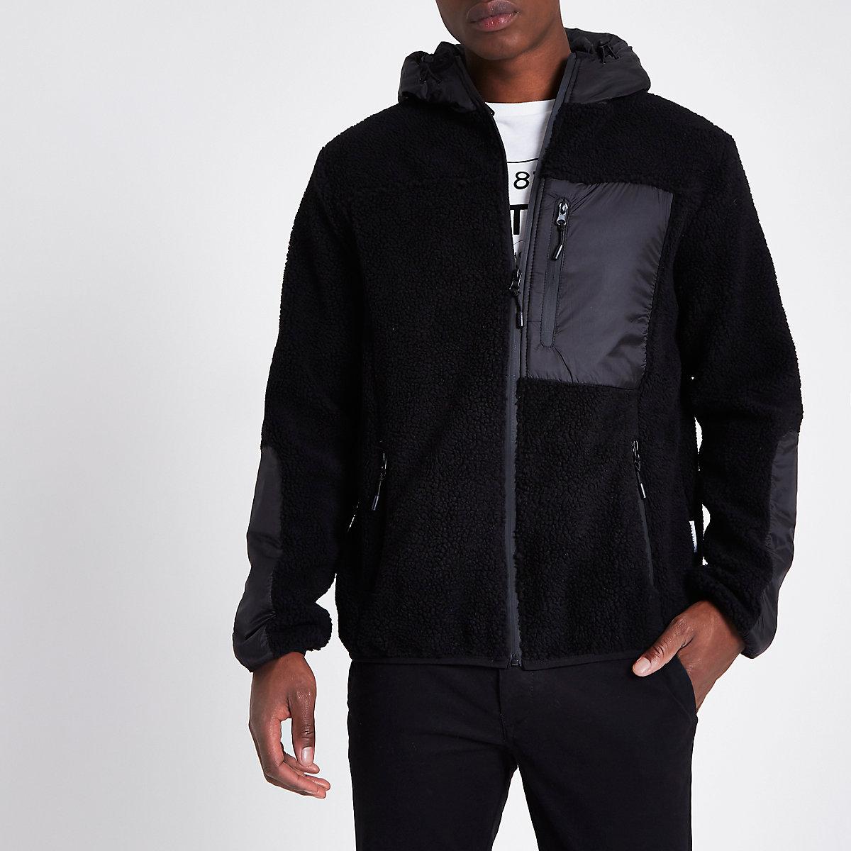 Bellfield – Schwarze Kapuzenjacke aus Fleece mit Reißverschluss