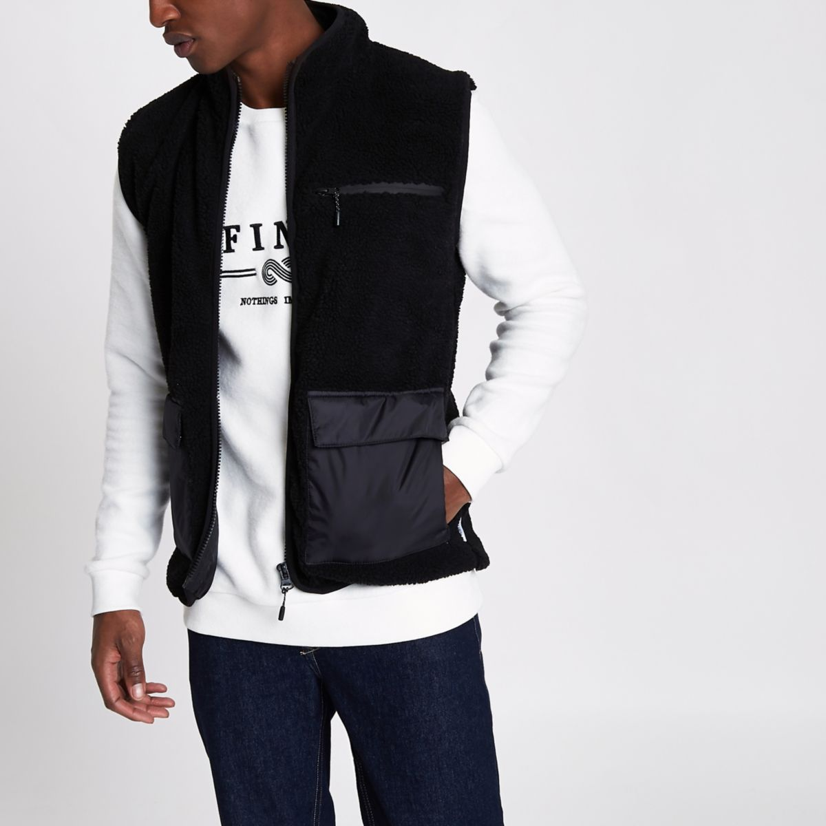 Bellfield black fleece vest