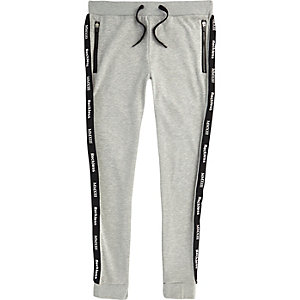 Grey marl Only & Sons printed joggers