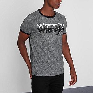 Wrangler - Grijs T-shirt met spiegellogoprint