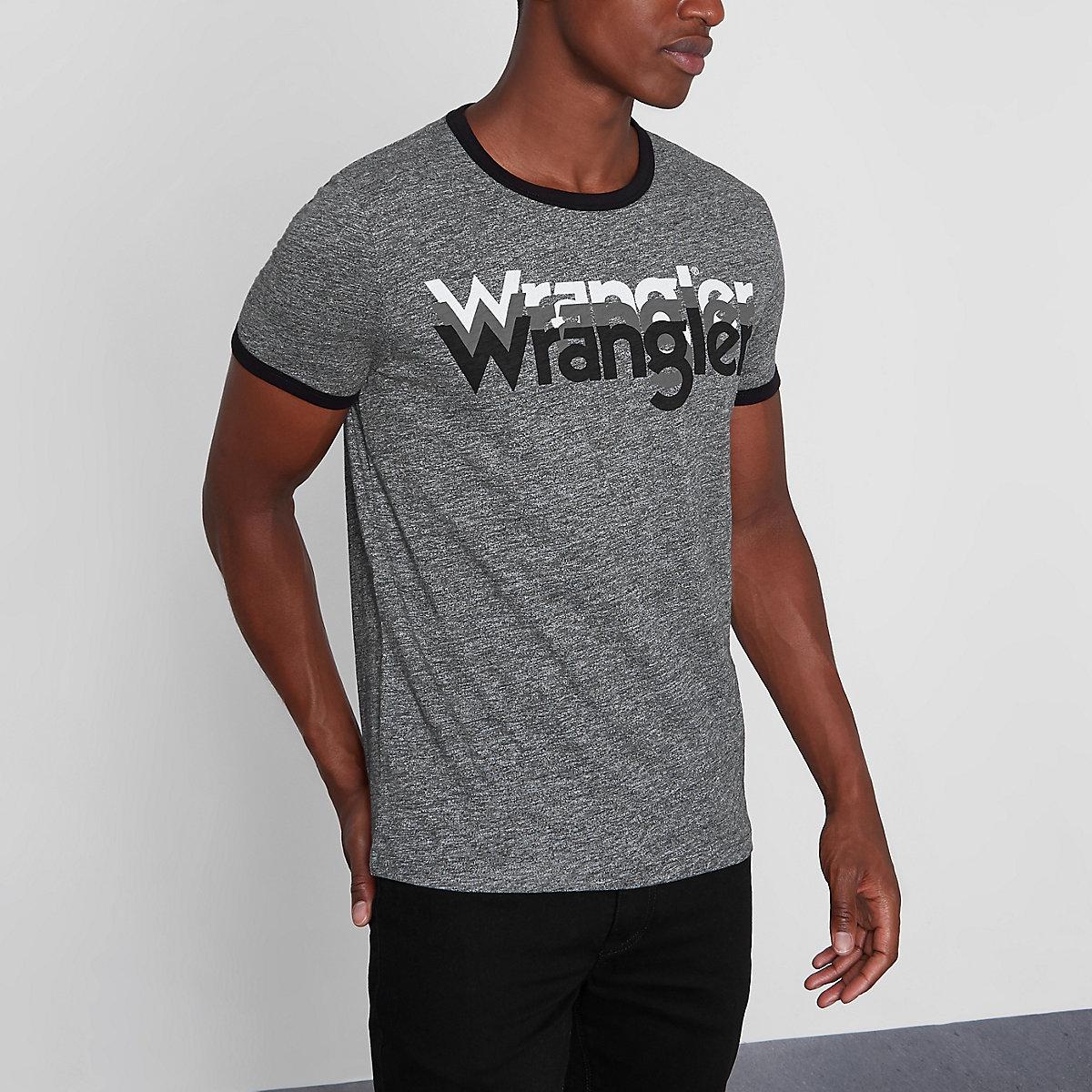Wrangler grey mirror logo print T-shirt