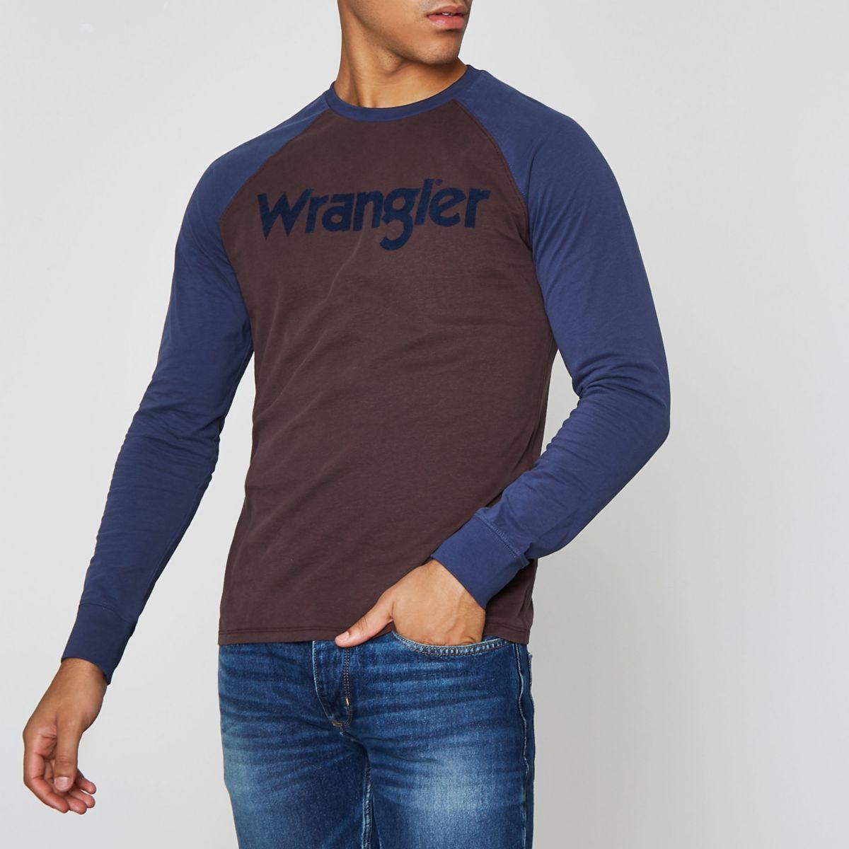 Brown Wrangler flocked raglan T-shirt