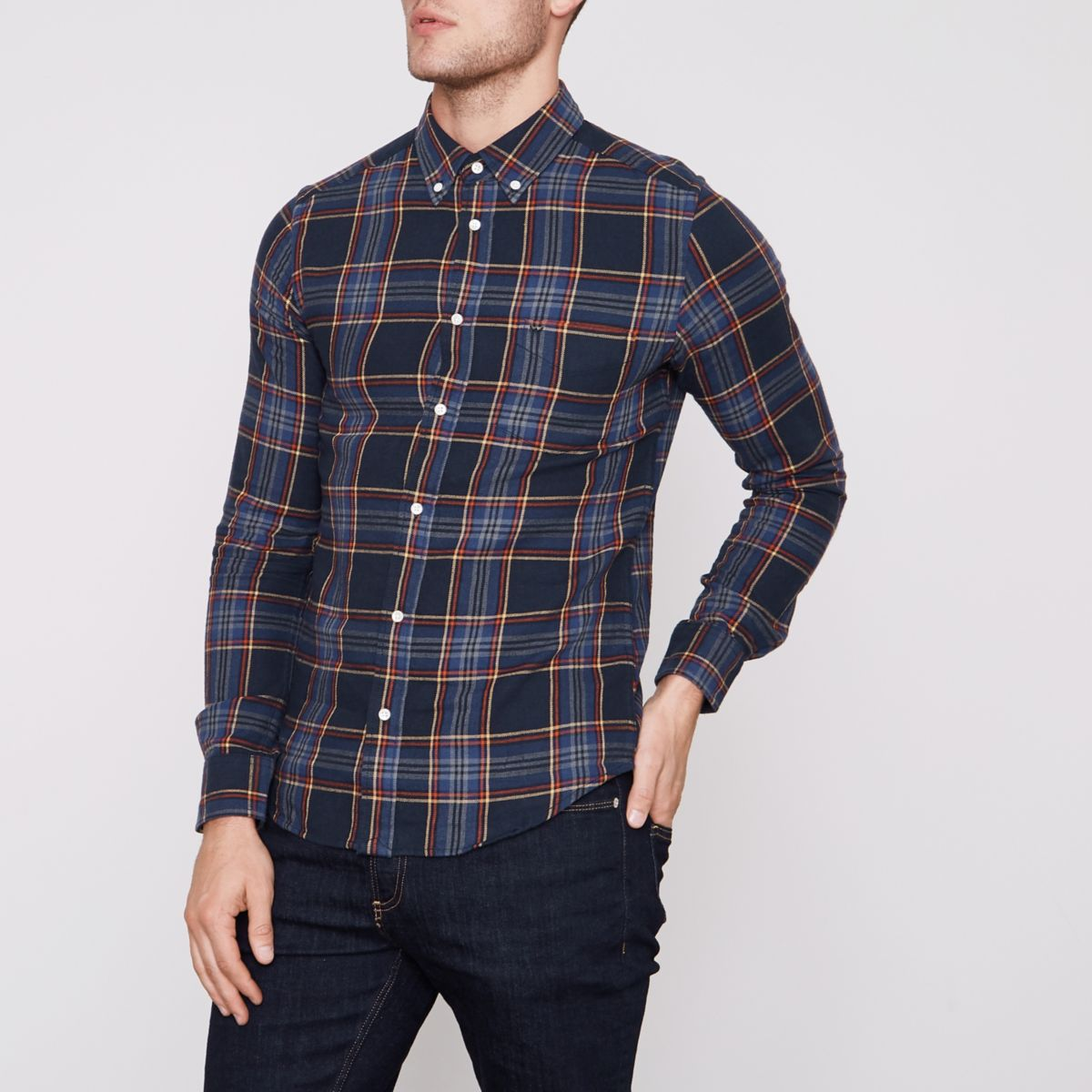Wrangler navy long sleeve check shirt