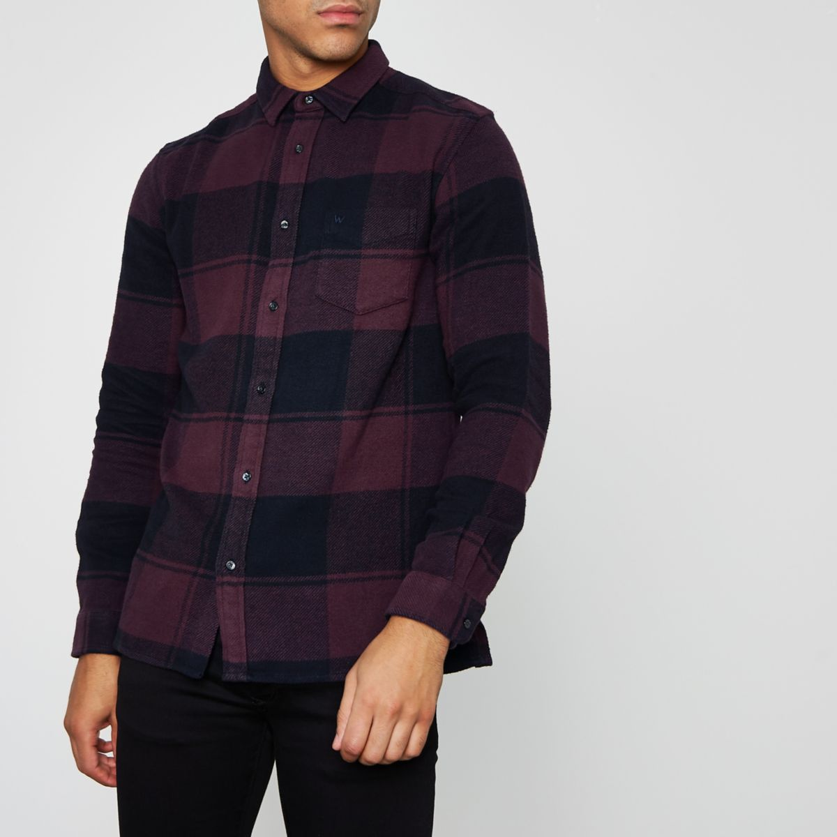 Burgundy Wrangler long sleeve check shirt