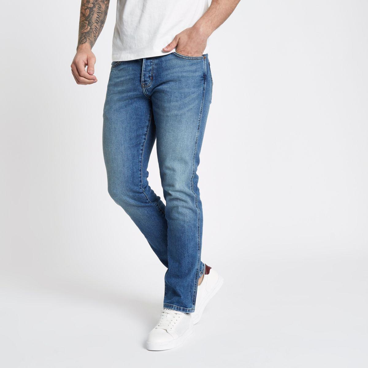 Wrangler – Spencer – Blaue Slim Straight Jeans