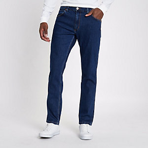 Mid blue Wrangler Greensboro straight jeans