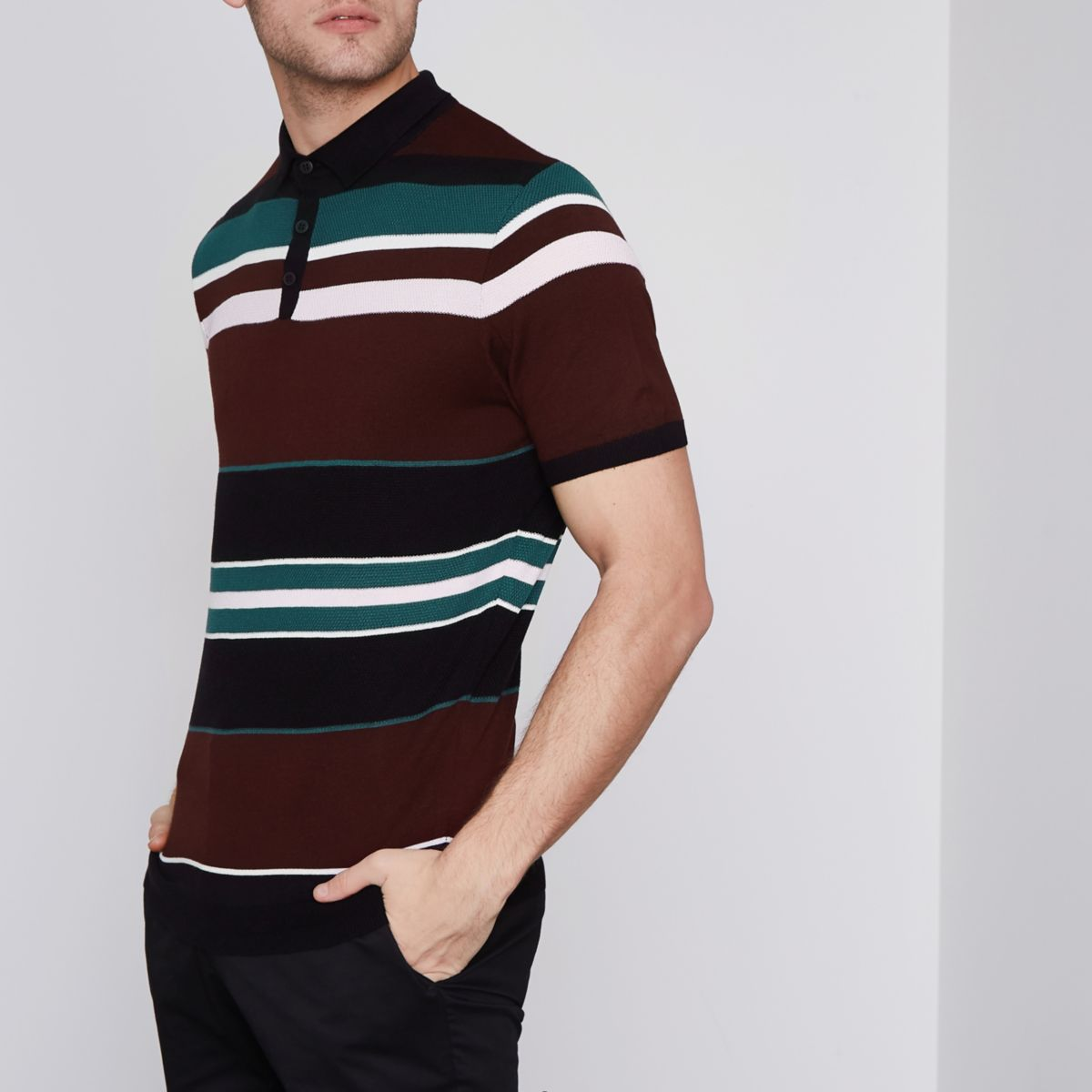 Burgundy block stripe slim fit polo shirt