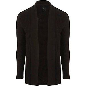 Black cable knit open front cardigan