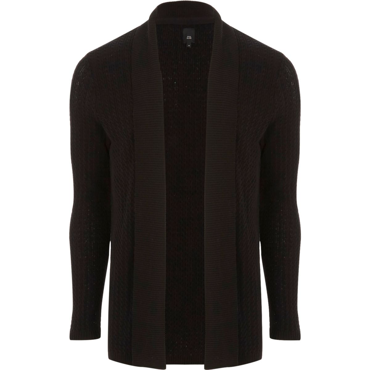 Black cable knit open front cardigan - Cardigans - Jumpers ...