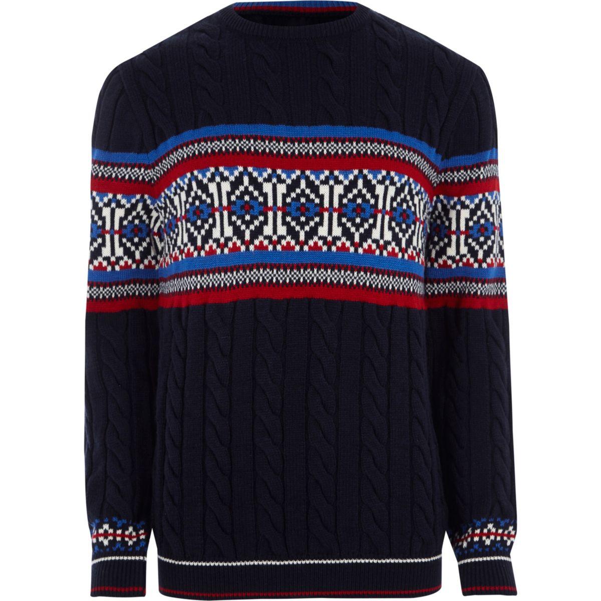 Navy Fairisle cable knit Christmas jumper
