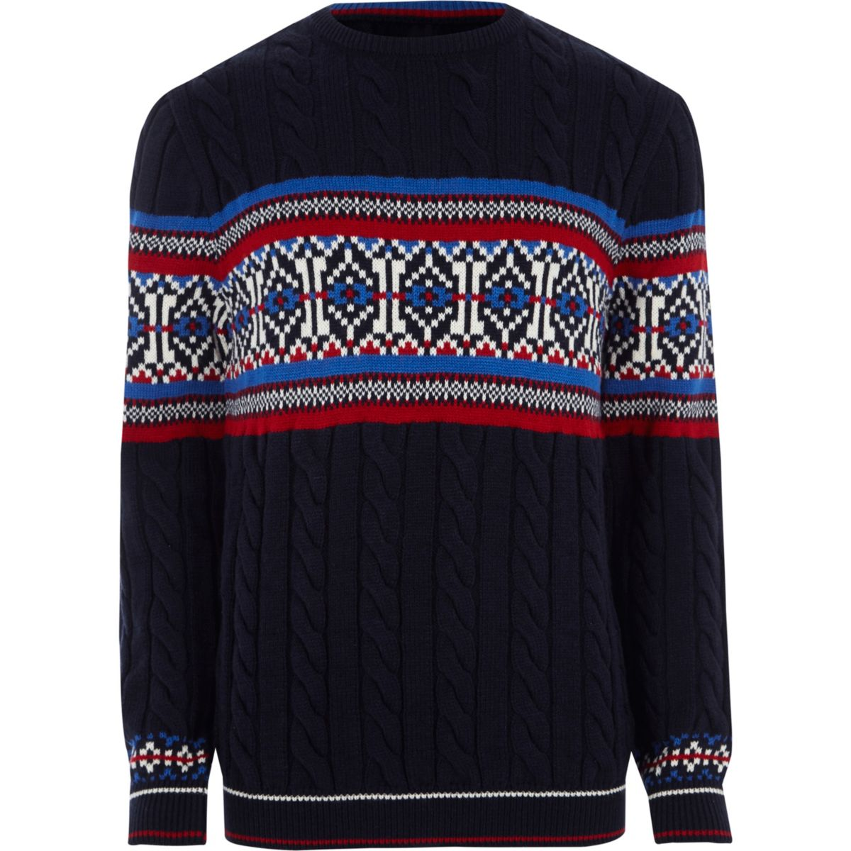 Navy Fairisle cable knit Christmas sweater - Sweaters & Cardigans ...