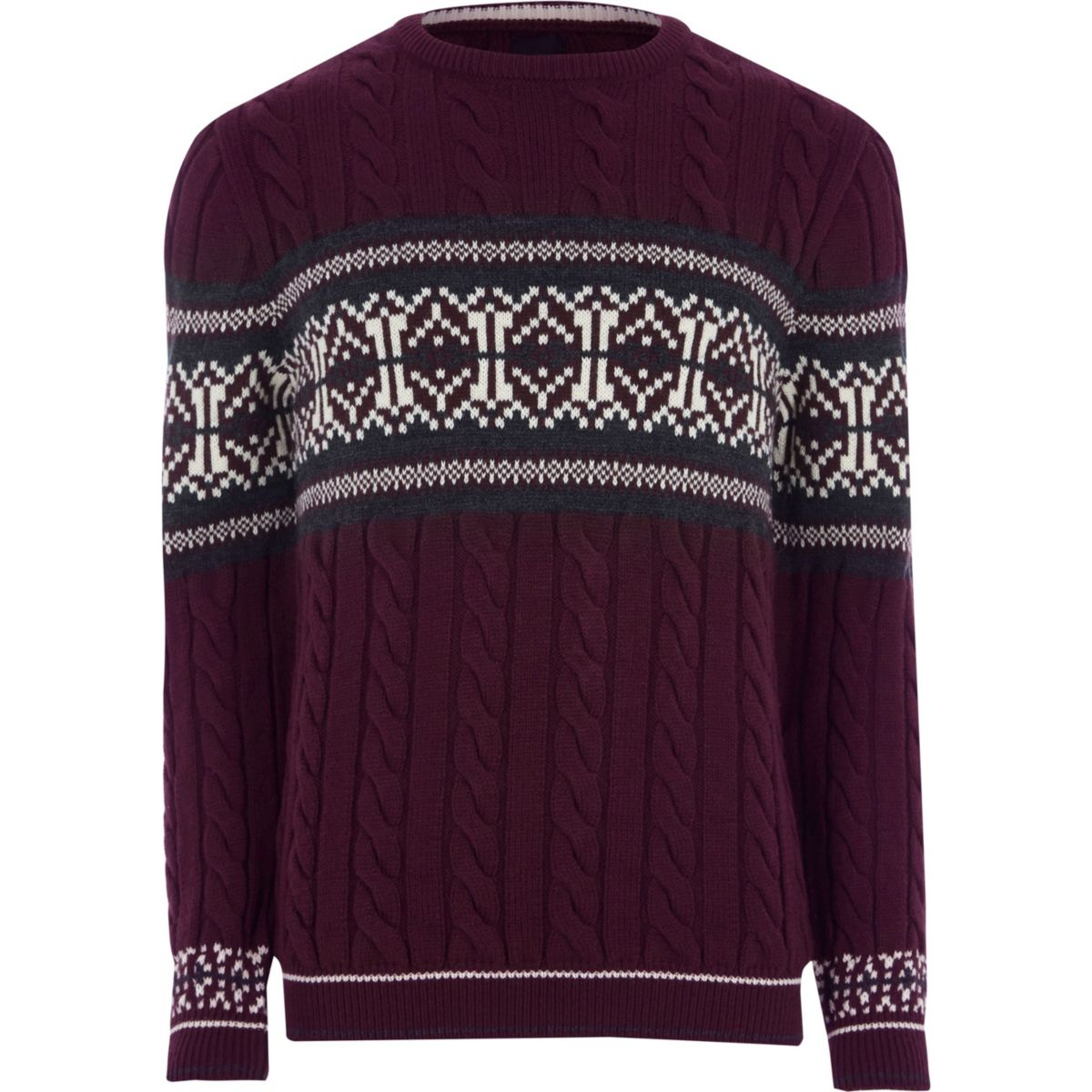 Burgundy cable knit Fairisle Christmas sweater - Sweaters ...