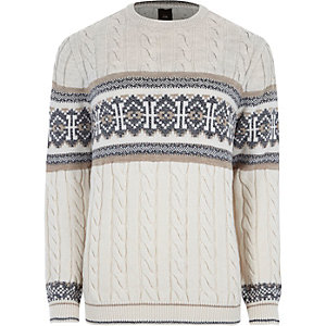 Stone Fairisle cable knit Christmas sweater