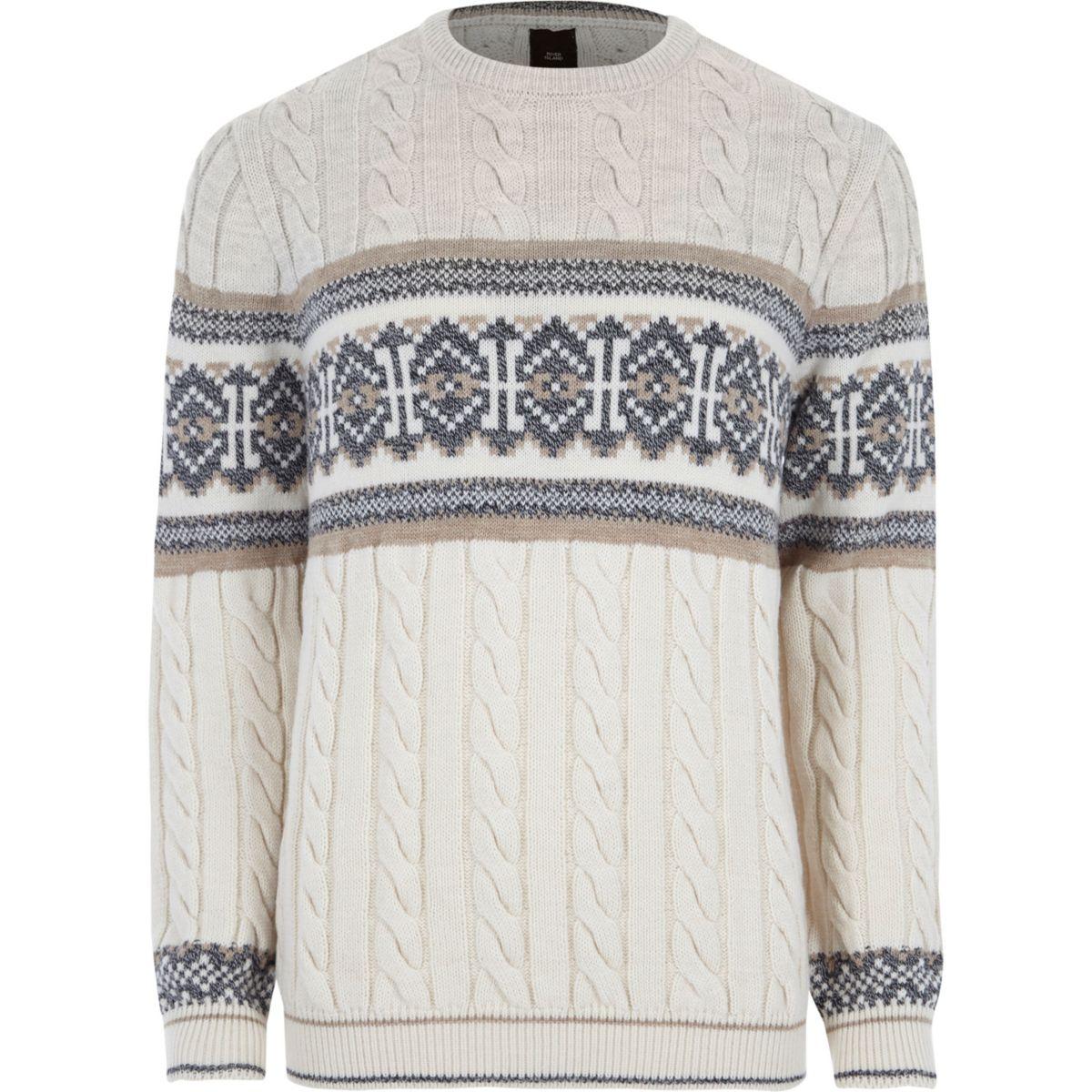 Stone Fairisle cable knit Christmas jumper