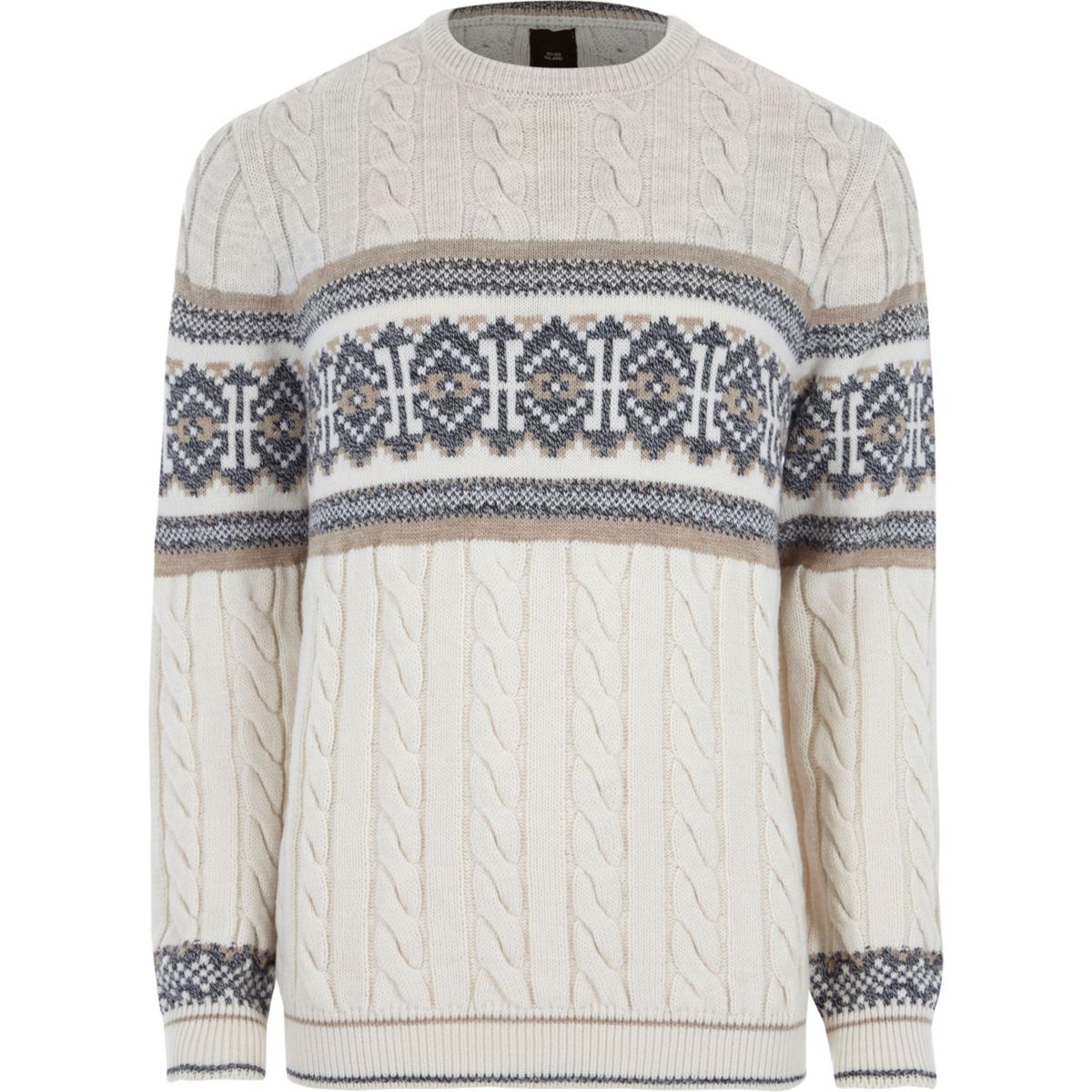 Stone Fairisle cable knit Christmas sweater - Sweaters & Cardigans ...