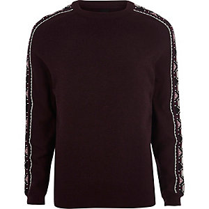 Dark red aztec sleeve knit sweater