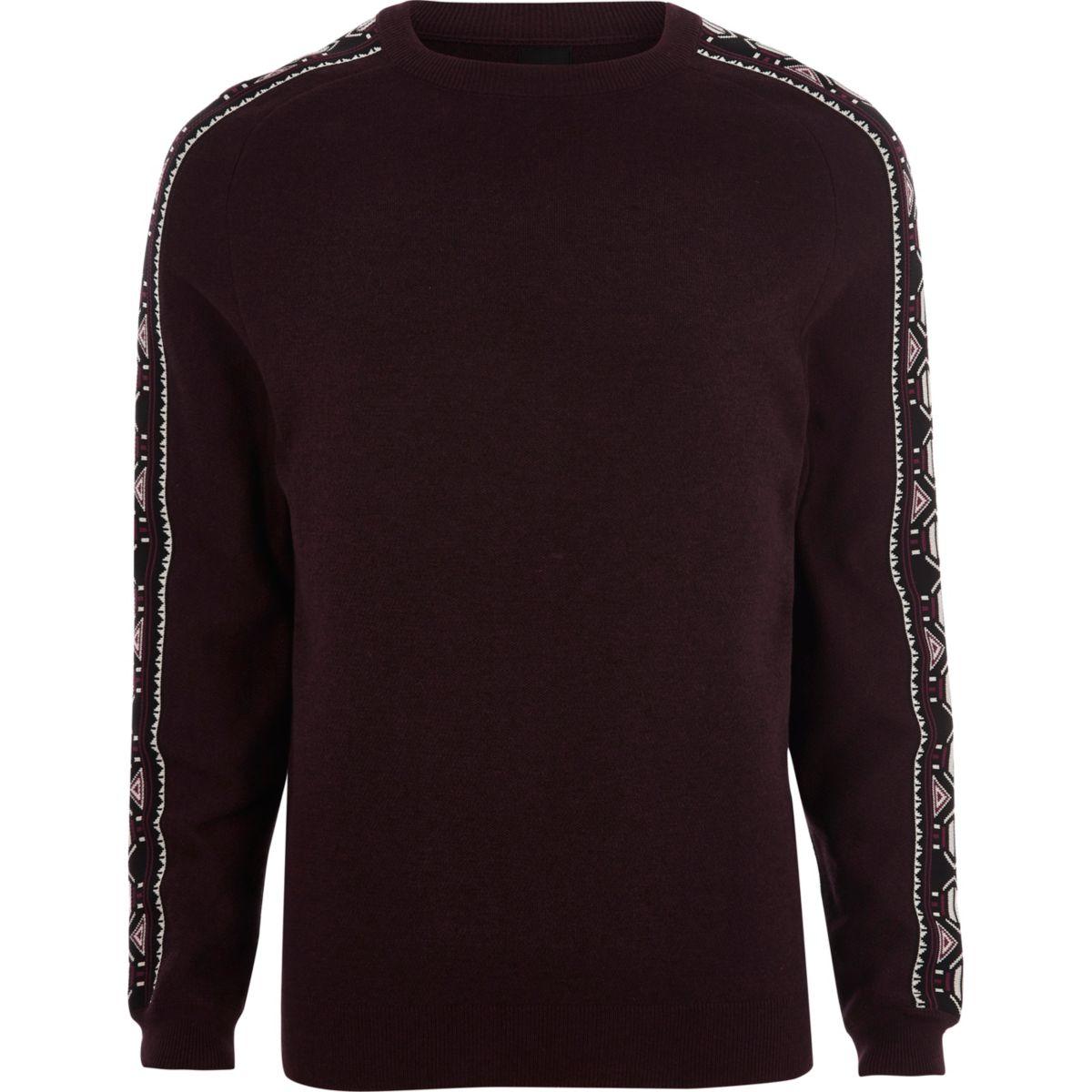Dark red aztec sleeve knit sweater