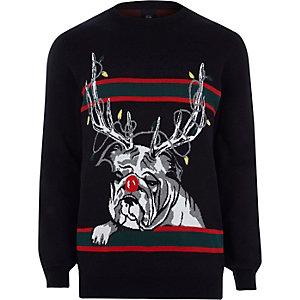 Black reindeer bulldog knit Christmas jumper