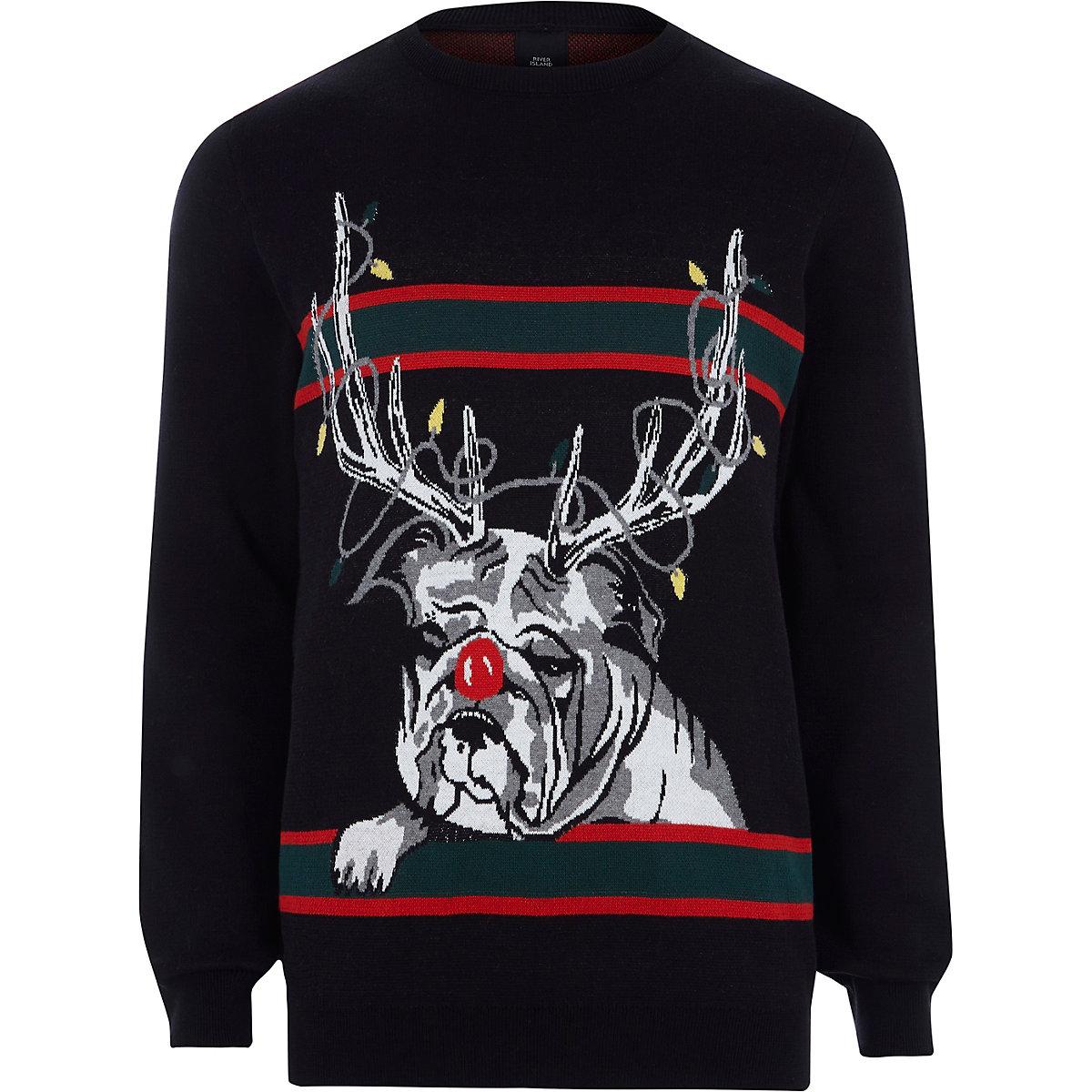 Pull de Noël bouledogue renne noir Pull de Noël bouledogue renne noir ... 9035e1ad29f6