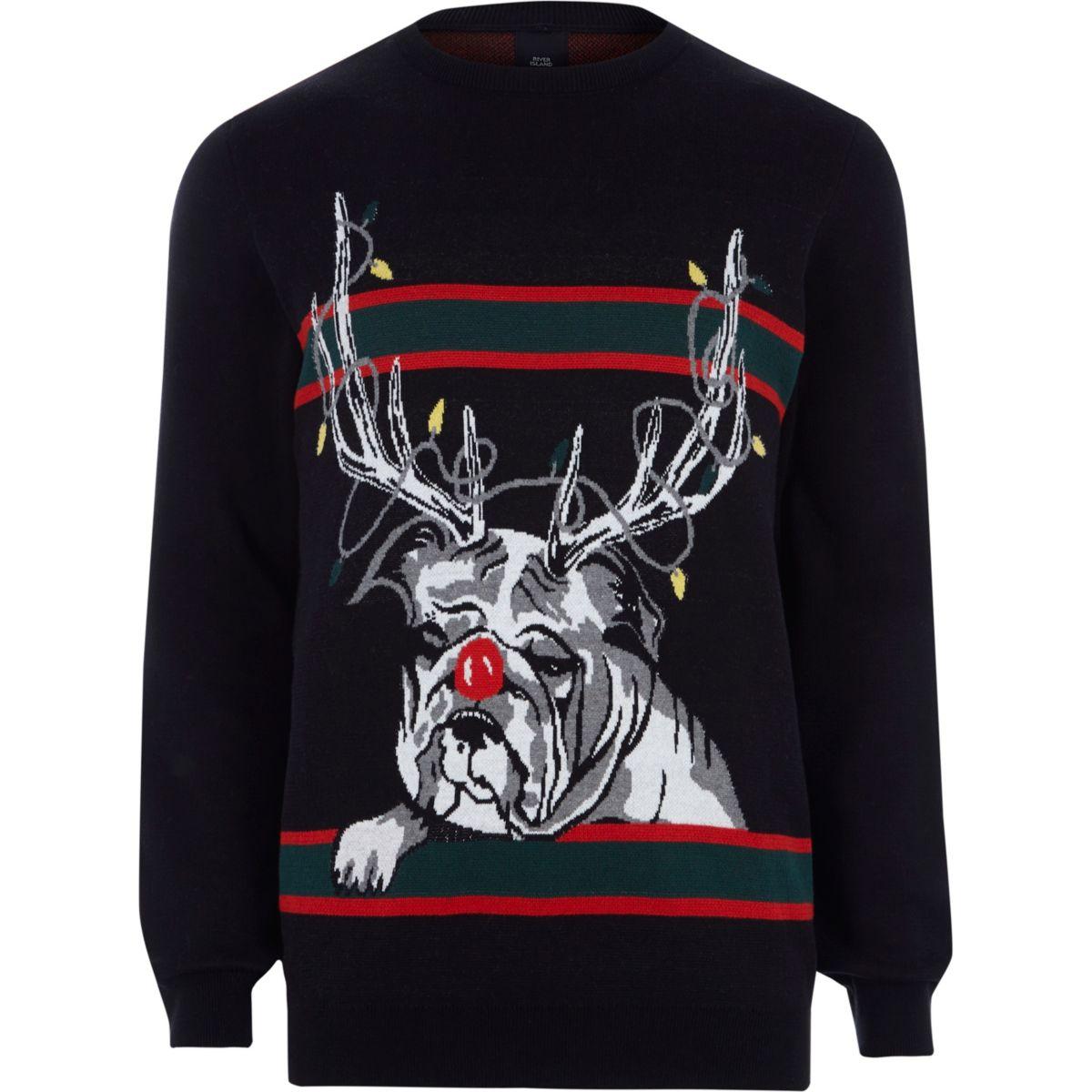 Pull de Noël bouledogue renne noir