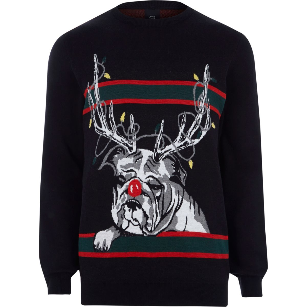Zwarte gebreide rendier-bulldog kersttrui