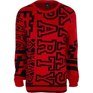 Pull de Noël «xmas party» rouge